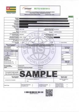 多哥BESC电子货物跟踪单 证书样本