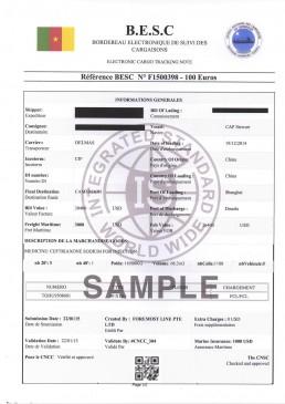 喀麦隆BESC电子货物跟踪单 证书样本